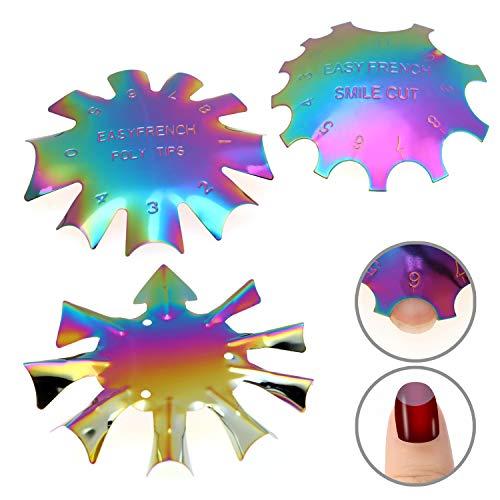 MWOOT 3 Stücke Edge Trimmer French Smile Line Werkzeug Set,Bunt kantenschneider Metall Schablone Cutter für Acryl UV Polyacryl Gel Modellage