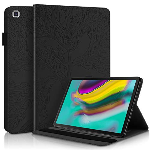 Samsung Galaxy Tab S5e 10.5 2019 SM-T720/T725 Case Premium PU Leather Stand Flip Wallet Case Multiple Viewing Angles Lightweight Folio Cover with Card Pockets Stylus Loop Elastic Band - Black