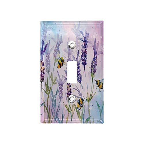 1-Gang Light Switch Panel Cover, Unbreakable Wall Switch Light Plate, Bees Flying in The Lavender Bushes Decorator Faceplate, Outlet Covers with Standard Size