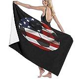 Grande Suave Ligero Toalla de Baño Manta,Diseño de fútbol de Estados Unidos Bandera Americana Balón de fútbol,Hoja de Baño Toalla de Playa por la Familia Hotel Viaje Nadando Deportes,52' x 32'