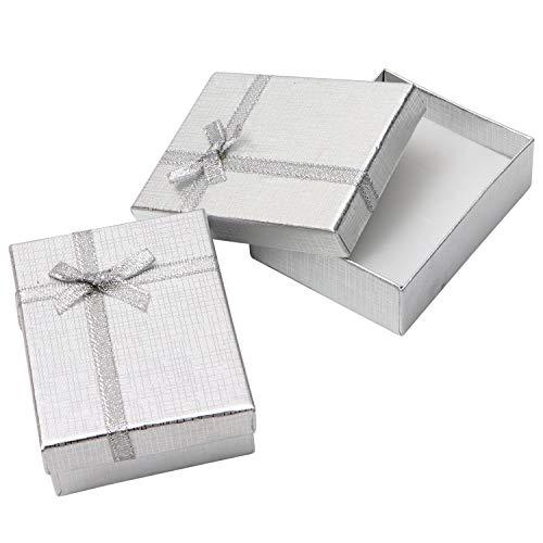Cajas de Regalo Joyeria (Pack de 24) - (8,5x6,5x2,5cm) Plata Cajas de Regalo con Inserto Espuma - Caja de Regalo de Presentación con Diseño de Lazo y Cinta para Collares y Pulseras