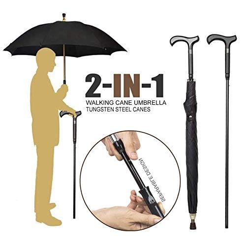 DMZH Herren 2 in 1 Gehstöcke Stöcke Regenschirm Trennbar rutschfest Multifunktion Regenschirm Gehen Stock Krücke Vaters Geschenk