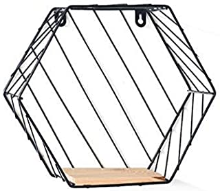 House of Quirk Metal Iron & Wooden Hexagon Design Wall Mounted Floating Shelves Display Racks Innovative Wall Hanging Hemp Rope Partition Plant Stand for Art Decor - Black