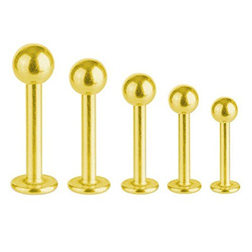 Lippen- Piercing Titan Vergoldet 1,2 mm Labret Monroe Tragus mit Kugel | 5-12 mm, Länge:10.0 mm, Kugelgröße:3.0 mm