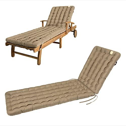 HAVE A SEAT Luxury – Cojín para tumbona de jardín (marrón dorado) 200 x 60 cm, 8 cm de grosor, lavable a máquina a 95 °C, apto para secadora, cómodo cojín acolchado para tumbona, tumbona de relax