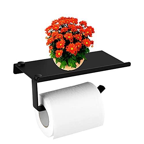 GUJIN Portarrollos de papel higiénico, sin agujeros, color negro, autoadhesivo, con bandeja, aluminio mate y acero inoxidable, para cuarto de baño