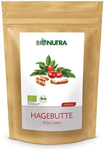 BioNutra® Rozenbottel capsules biologisch 240 x 650 mg, Duitse GMP-productie, 100% puur biologisch rozenbottelpoeder (Rosa canina), zonder toevoegingen