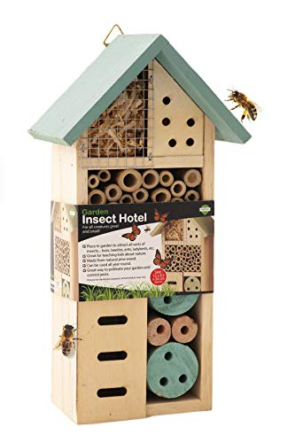 ADEPTNA Wooden Garden Insect Hotel for all Creatures Great and Small - Nest Home for Bees Beetles Ants Ladybirds and all Sorts of Insects (SMALL INSECT HOTEL)