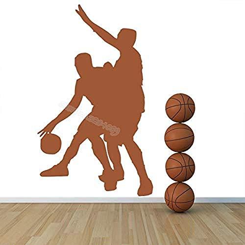 Wandaufkleber Wandbild Spieler Basketball Sport Zwei-Spieler-Spiel Sport Silhouette Basketball Fan Schlafzimmer Dekorative Wandbild Kunst Aufkleber 42X68Cm