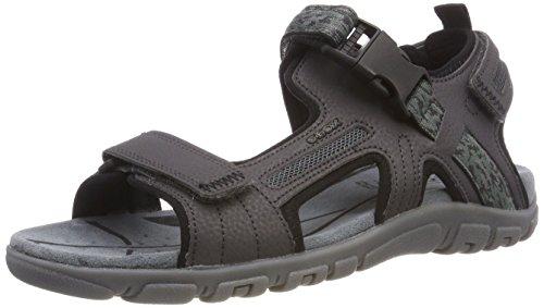 Geox Uomo Strada A, Sandali con Cinturino alla Caviglia, Grigio (Dk Grey), 45 EU
