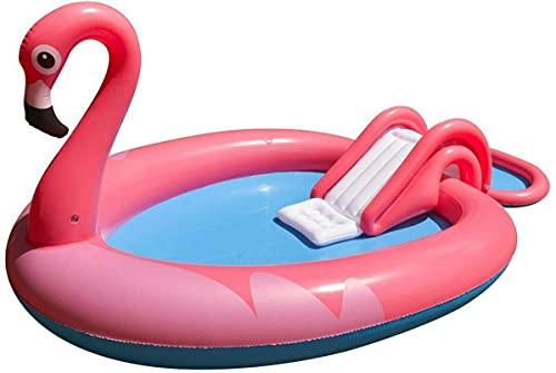 Jilong- Flamingo Spray Pool Piscina Gonfiabile a Forma di Fenicottero con spruzzatore d'Acqua Integrato, Colore Rosa, 57172