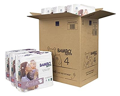 Bambo Nature Eco Friendly Premium Baby Diapers for Sensitive Skin, Size 4 (15-40 lbs), 180 Count (6 Packs of 30)