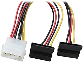 Computer Cables & Connectors - 8 inch Molex 4-pin Male to Right Angle 2x Power 15-pin 90-Degree Y-Splitter Converter Adapt...