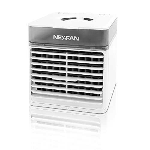 Nexfan Evo - Mini condizionatore portatile, rinfresca e purifica l'ambiente, funzione luce UV, silenzioso, umidificatore incluso, connessione USB, bianco