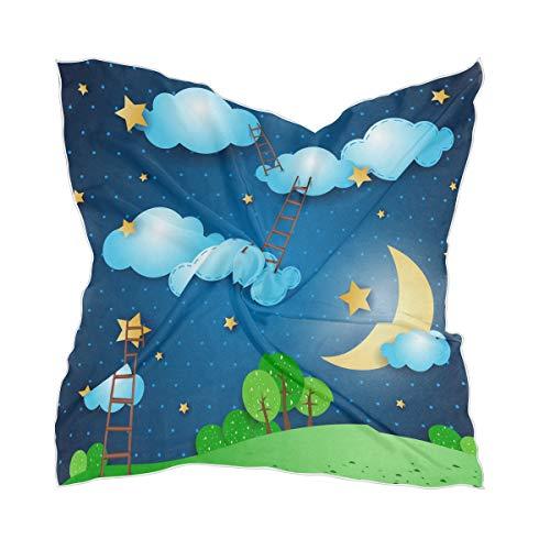 Thin Starry Sky Moon Night Ladder Lichtgewicht Hoofddoek Sheer Zijde sjaal Hoofdstuk Chiffon