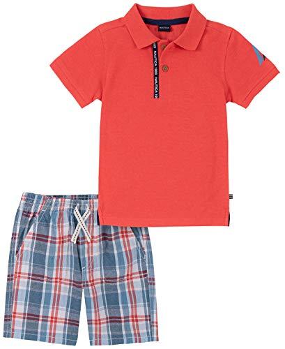 Nautica Sets (KHQ) Conjunto de 2 Pantalones Cortos Tipo Polo para bebé, Cayenne Single Dye/Blue Plaid, 5 Años
