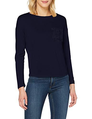 Springfield Camiseta Bolsillo Crochet T-Shirt, Azul, L Womens