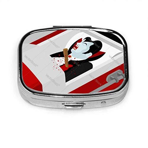 Pill Organizer Case, Tod von Dracula Vampire Count In einem offenen Sarg Tragbare Pillendose Kleine Pillendose Für Geldbörse Oder Tasche, Quadratische Pillendose (2 Fächer)