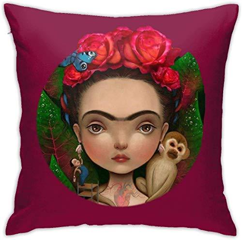 Gypsophila Frida Kahlo - Funda de almohada decorativa de lino y algodón con diseño estampado, para sofá, coche, dormitorio, 60 x 60 cm