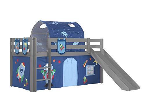 Vipack Cama de juegos Pino con tobogán con cortina de tela, túnel y 3 bolsillos de pino macizo lacado, color gris