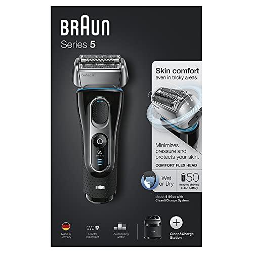 Braun Series 5 Elektrischer Rasierer, mit Präzisionstrimmer, Ladestation, Wet&Dry, 50 Minuten Akkulaufzeit, wiederaufladbarer und kabelloser Elektrorasierer, schwarz/blau/chrom