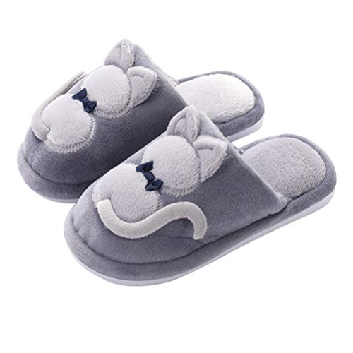 FENICAL 1 par de Pantuflas de Animales de Peluche Lindos Zapatillas de casa cálidas Zapatillas de Gato de Dibujos Animados de Invierno para niños de 23 cm