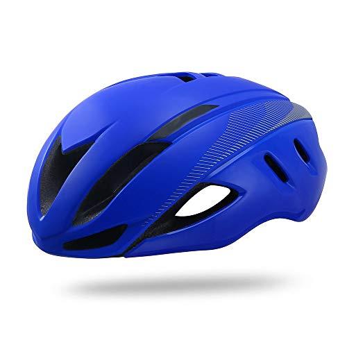 HKRSTSXJ Carretera de montaña Casco de la Bici Ligera y Transpirable Hombres y Mujeres Seguridad de la Bicicleta Casco de equitación (Color : Azul)