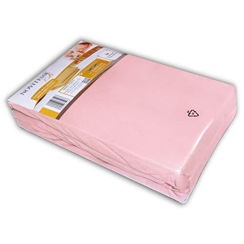 NOVITESSE Kids 2 Stück Jersey Spannbetttuch 60x120cm bis 70x140cm Kinder Spann Bettlaken Spannlaken, Farbe: Rosa