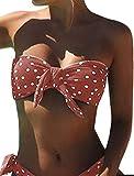 UMIPUBO Costumi da Bagno Donna Push Up Imbottito Costumi da Mare Senza Spalline Due Pezzi Bikini A Pois Spiaggia Bandeau Beachwear Swimwear (Nero, XL=Vita: 76-83cm)