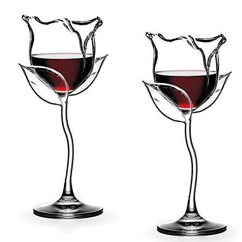 Pazalor Weißweingläser aus Rotweingläser Weißweinglas, Weingläser mit langem Stiel, Kreative Rosenform, Elegante und Schlichte Weißweinkelche für zu Hause, Party, Geschenkidee 2 Stück