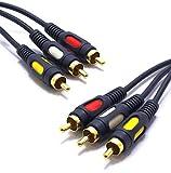 Cable 3RCA 1,5 m AV Audio Video Compuesto 3 RCA Macho a Macho VITALCO Oro Phono Cables DVD TV