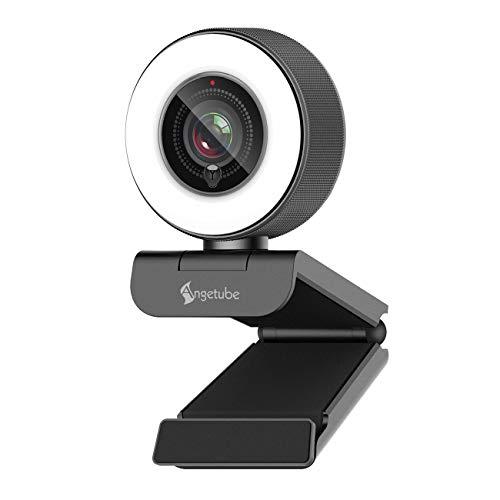 Streaming HD Webcam 1080P con luz de anillo, Angetube 967 USB PC Cámara de enfoque automático con micrófono dual, cámara de video para Mac Windows Conferencias Gaming Xbox Skype OBS