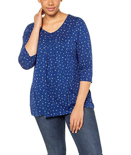 Ulla Popken Damen große Größen Fältchenshirt mit Ankerprint, A-LINE T-Shirt, Türkis (Königsblau 72736875), 50-52