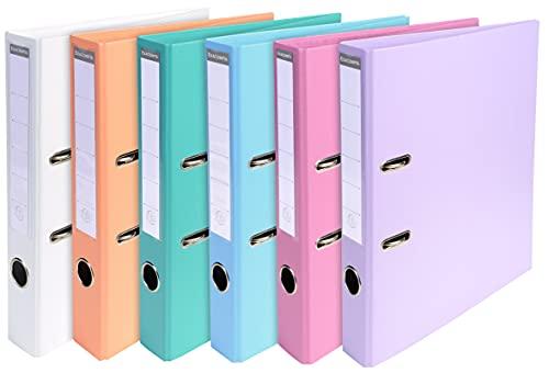Exacompta - Réf. 53044E - Carton de 10 Classeurs à levier A4 Prem'Touch - Dos de 50 mm - Mécanique 55 mm - Dimensions extérieures : 32 x 29 x 5 cm - Format à classer A4 - 6 couleurs pastels assorties