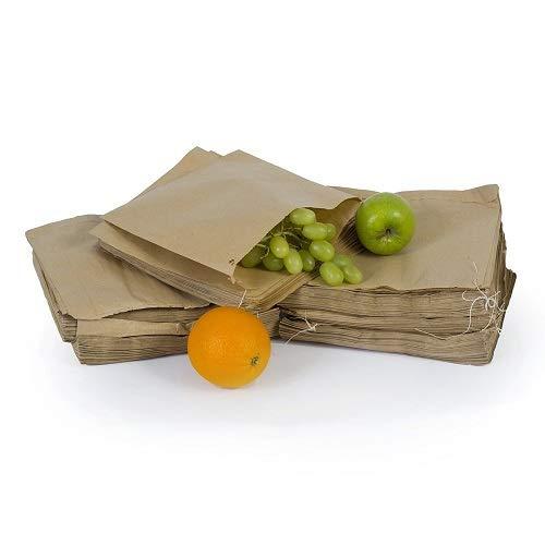 Bolsas pequeñas de papel kraft marrón con cordón, tamaño 178 x 178 mm, para frutas, verduras, alimentos, sándwiches, alimentos, tienda 247 7 x 7'' marrón
