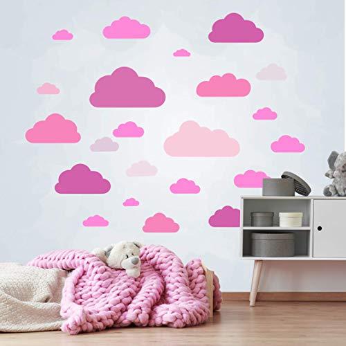 20 delen wolken muursticker kinderkamer set - houtsnippers muurstickers, pastelkleuren, babybehang stickers om op te plakken, muurstickers sleepy eye wanddecoratie - muurfolie, peuters in het roza