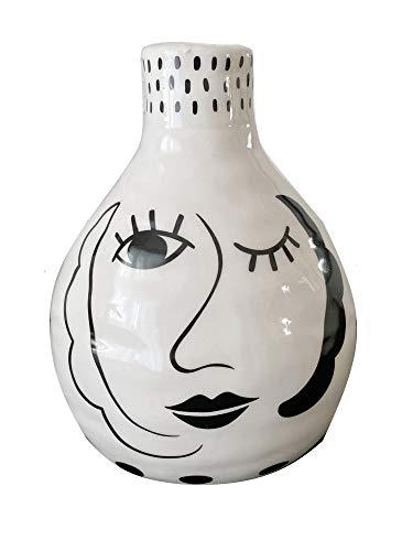 TrendHome Deko Keramik Blumenvase Weiß Mit Gesicht, Moderne Wohnzimmer Tischdeko Bemalt Mit Frauen Gesicht, Trendiges Couchtisch Deko Blumentopf Mit Face Motiv HxBxT 16,5x12x10,5 cm