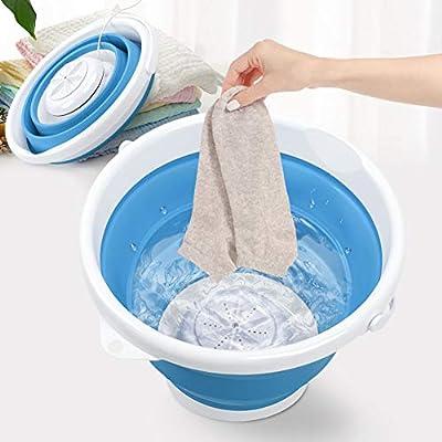 Portable Washing Machine, Mini Ultrasonic Turbine Washer with Bucket & USB Plug, Foldable Washer Machine for Apartments Dorm Business Trip RV Camping, 10W