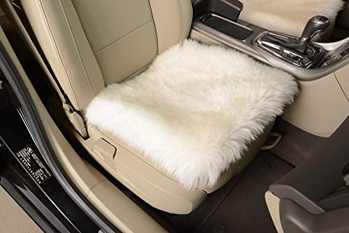 OKAYDA Square Natural Sheepskin Seat Cushion Cover 1 Pc Universal Fit Fur Cushion for Car, Chair and Armchair (White)