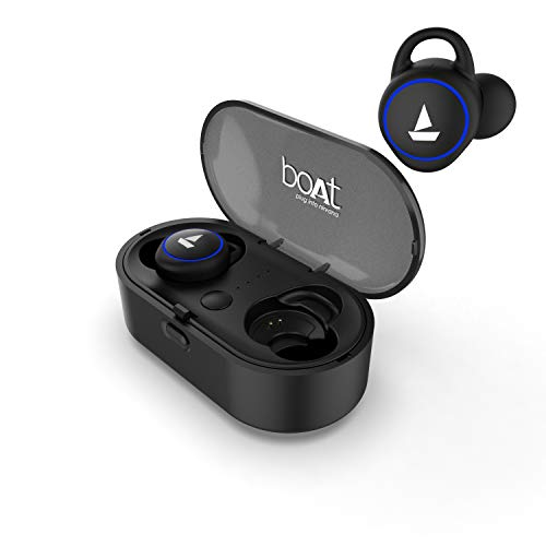 boAt Airdopes 311V2 Twin Wireless Ear-Buds with BT V5.0, Up to 15.5H Total Playback, IPX5 Water Resistance, Built-in Mic and Voice Assistant(Active Black)