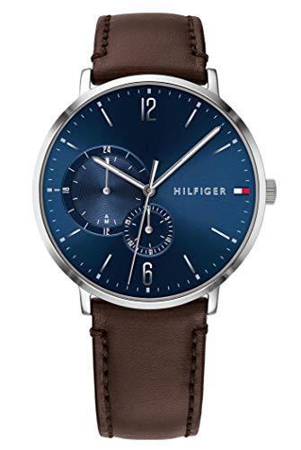 Tommy Hilfiger Herren Multi Zifferblatt Quarz Uhr mit Leder Armband 1791508