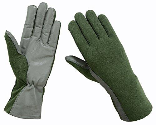 ONETAC OUTDOOR Nomex Flight Flyers Gloves Pilot FIRE Resistant Black, Green, Tan (Green, Large)