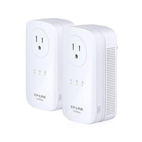 TP-Link AV1200 3-Ports Gigabit Powerline ethernet Adapter Starter Kit, , Pass-through, Powerline speeds Up to 1200Mbps(TL-PA8030P KIT)