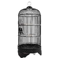 鳥かご 観賞用の鳥のための適切な国内の鉄生産のためのラウンドバードケージオウム 屋外の鳥かご (色 : Black, Size : 23X23X55cm)