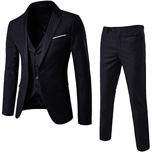 Traje de 3 Piezas para Hombre con Chaqueta, Chaleco y Pantalones Negro L