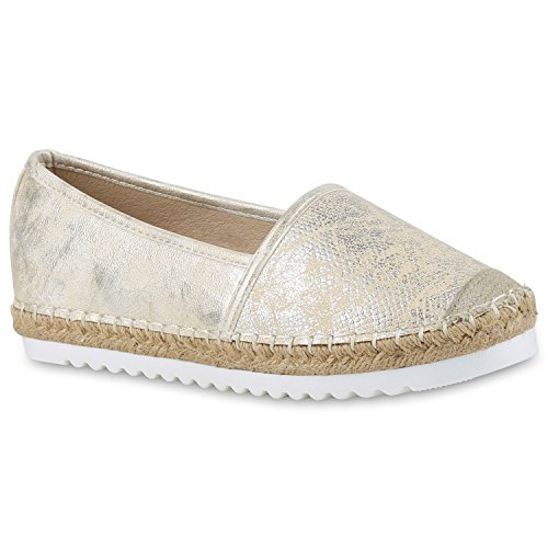stiefelparadies Damen Espadrilles Metallic SlipperBast Profilsohle Flats Freizeit Glitzer Prints Spitze Schuhe 131118 Gold 36 Flandell