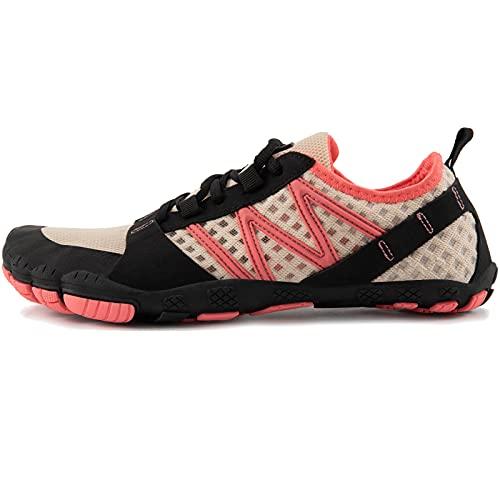 JACKSHIBO Zapatos descalzos para hombre y mujer, zapatos de verano para correr, de secado rápido, transpirables, zapatillas de fitness, antideslizantes, para trekking o trail, D Pink, 37 EU