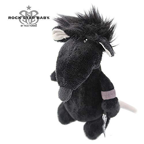 ROCK STAR BABY by NICI - Maus Ratte Kuscheltier - 14 cm - RSB Stofftier - Rock'n Roll fürs Kinderzimmer - Schlagzeuger Tico Torres Design - Kuschelratte zum Schmusen - schwarz