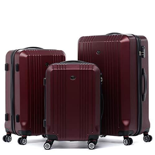 FERGÉ Kofferset Hartschale 3-teilig Cannes Trolley-Set - Handgepäck 55 cm, L und XL 3er Set Hartschalenkoffer Roll-Koffer 4 Rollen rot