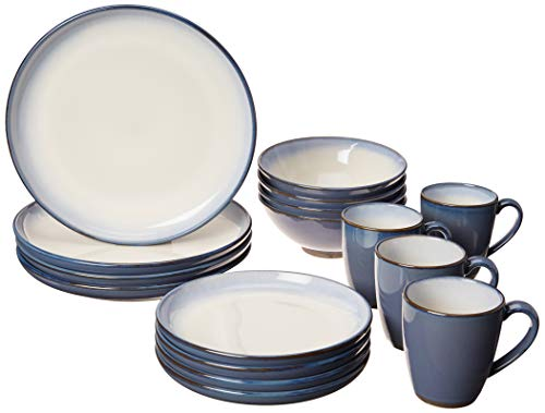Gibson Elite Serene Fountain Blue Dinnerware Set Stoneware (16 Piece), Reactive, 16pc